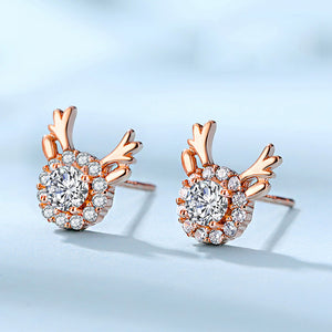 Deer Antler Earrings Studs Rose Gold Crystal Hypoallergenic 925 Sterling Silver