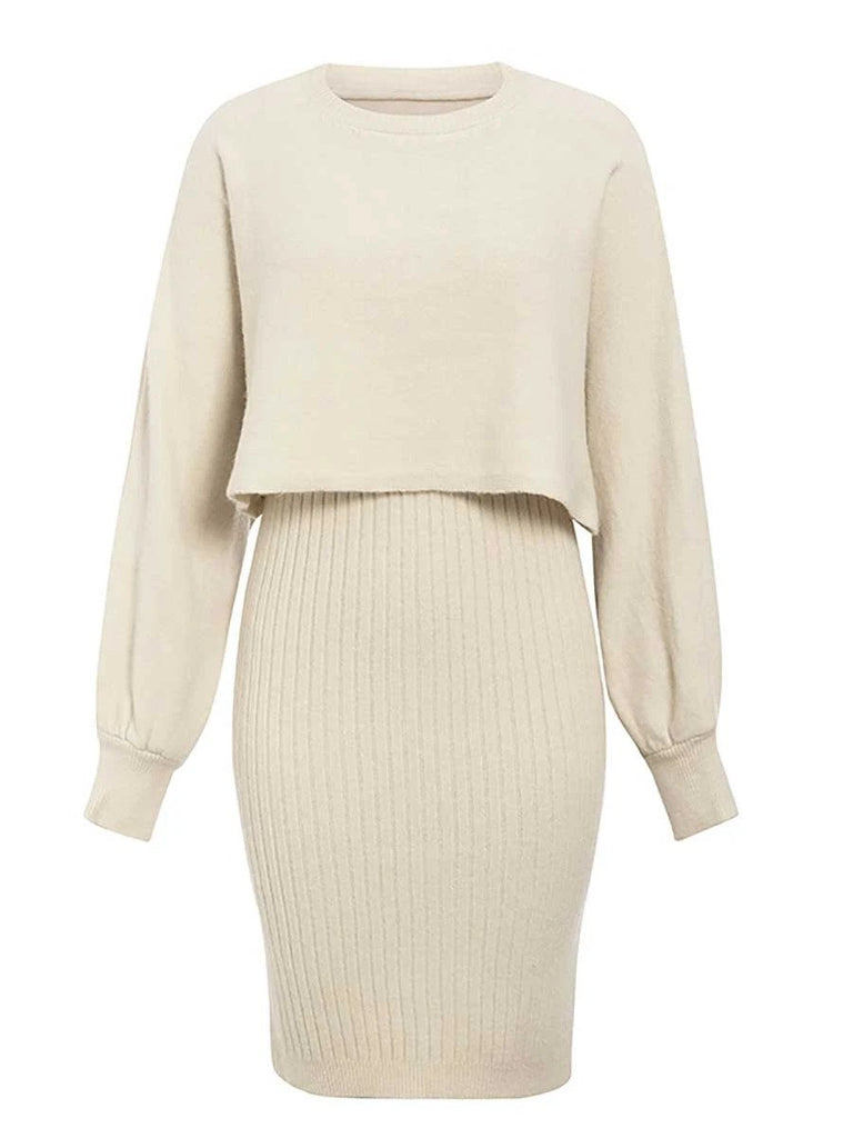 beige 2 pieces women knitted dress pullover sweater dress one size