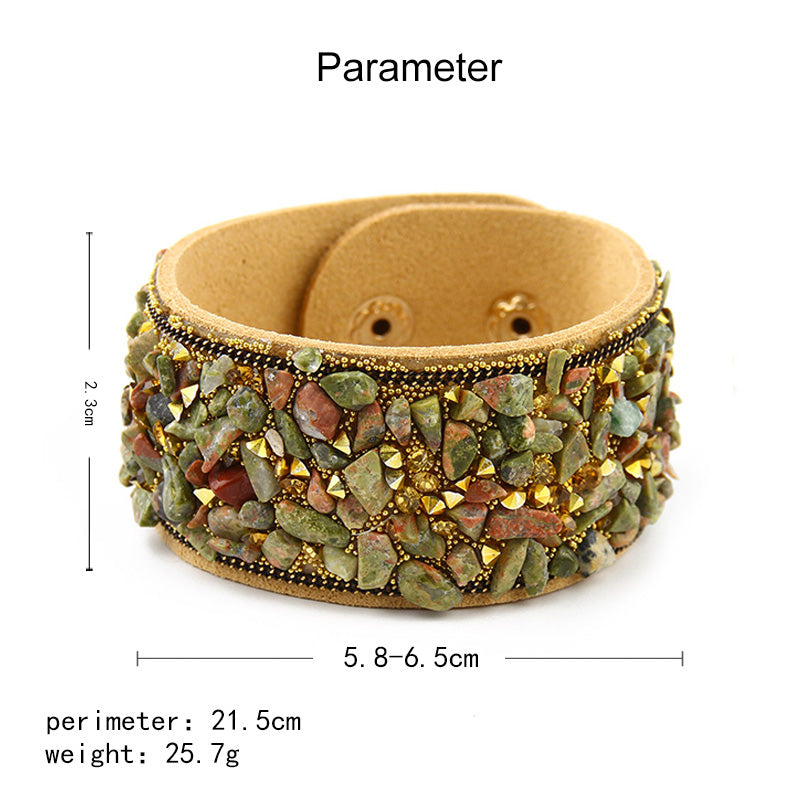 Stone Cuff Bracelets For Women Leather With Crystal Rhinestone