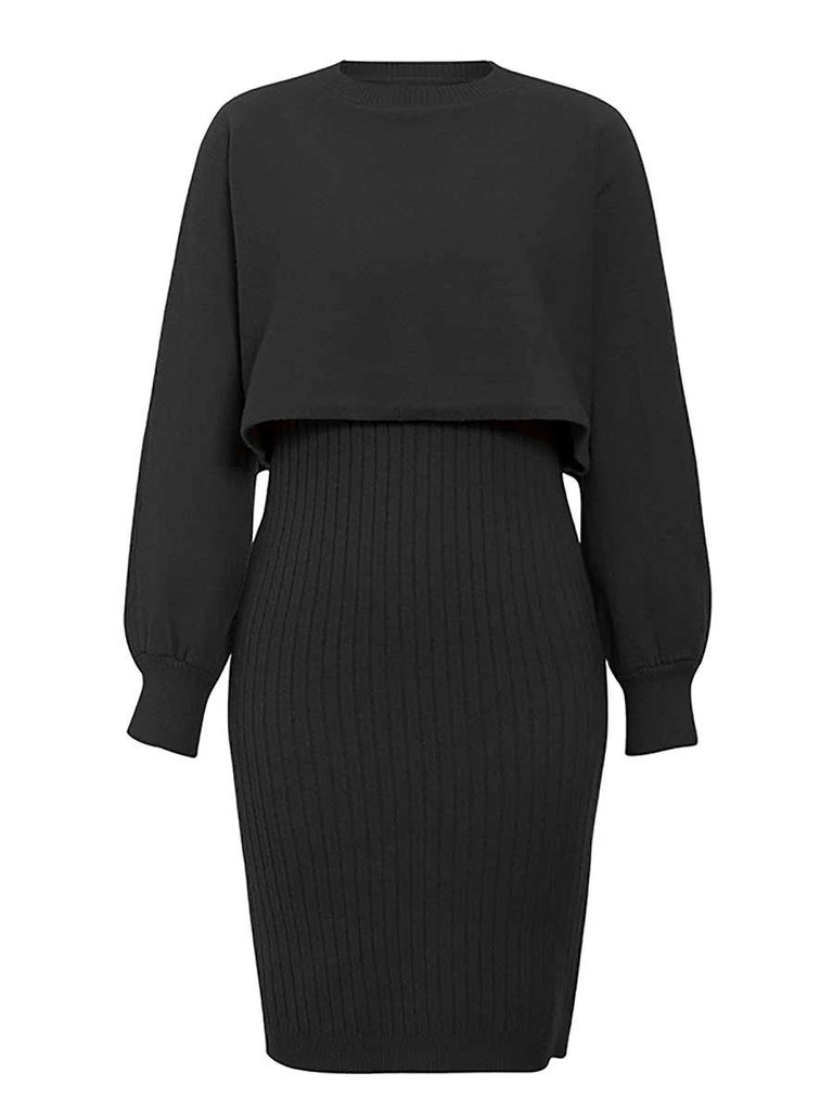 black 2 pieces women knitted dress pullover sweater dress one size