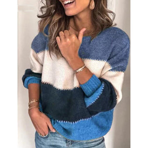 Women oversize striped loose sweater jummper color block
