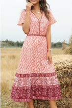 Load image into Gallery viewer, Pink Bohemia Floral Dress V Neck