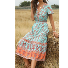 Load image into Gallery viewer, Bohemia Floral Midi Dress V Neck