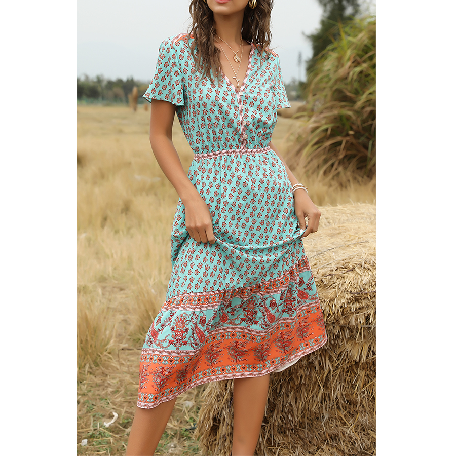 Blue Bohemia Floral Dress V Neck
