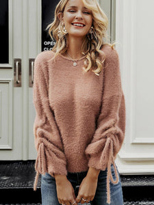 Knitted pullover jumper crewneck mohair women