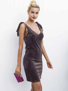 brown velvet dress v neck above knee autumn