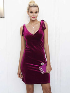 burgundy velvet dress v neck above knee tie up