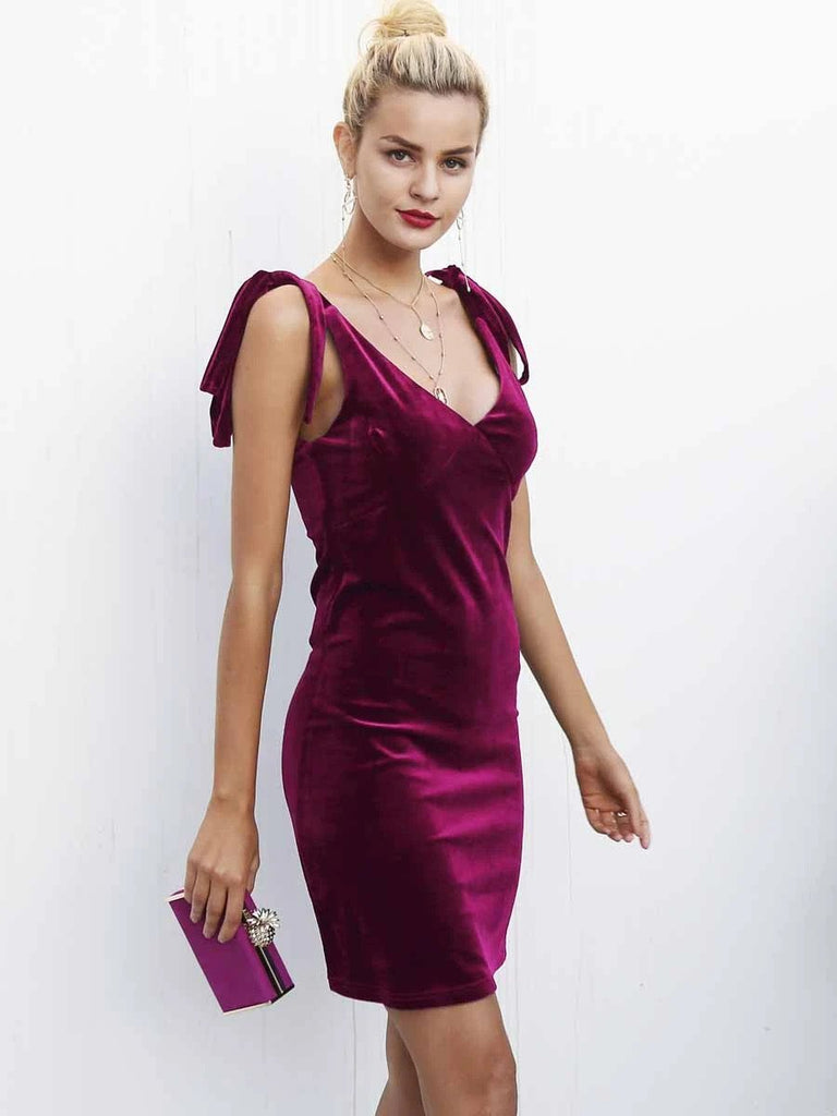 Velvet dress V neck above the knee spaghetti straps tie up casual