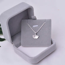 Load image into Gallery viewer, Pendant Choker Necklace Ginkgo Leaf 925 Silver Box Chain