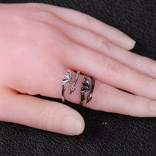 Load image into Gallery viewer, Black White Matching Couple Rings Dragon Wings Tails Punk Gothic Style Jewelry Devil Ring for Girlfriend