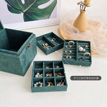 Load image into Gallery viewer, Darkgreen jewelry box organizer vintage suede fabric multilayer with mirror lock