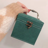 Darkgreen jewelry box organizer vintage suede fabric multilayer with mirror lock