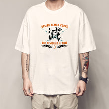 Load image into Gallery viewer, Demon Slayer Anime T Shirt Knaji 滅 Demon Slayer Corps Letter Printed White