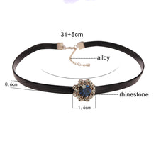 Load image into Gallery viewer, blue collar necklace with pendant rhinestone