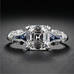 Emerald Cut Engagement Ring 925 Sterling Silver