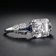 Load image into Gallery viewer, Emerald Cut Engagement Ring 925 Sterling Silver