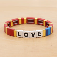 Load image into Gallery viewer, love letter alphabet rainbow enamel bracelet bangle