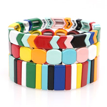 Load image into Gallery viewer, enamel bracelet set chevron arrow bohemia