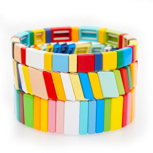 Enamel Tile Bracelet Rainbow Layered for Girls Women