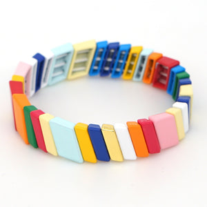 Stackable Enamel Tile Bracelet Rainbow Colorblock Beads Bracelets Chevoron Bohemian for Women Girls