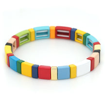 Load image into Gallery viewer, Stackable Enamel Tile Bracelet Rainbow Colorblock Beads Bracelets Chevoron Bohemian for Women Girls