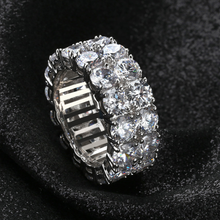Load image into Gallery viewer, Eternity Wedding Band Ring Hip Hop 2 Rows Zirconia Prong Setting