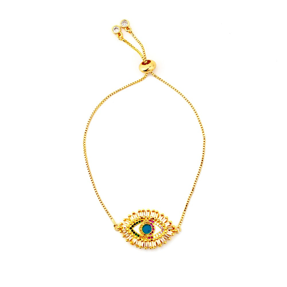 Evil Eyes Bracelet Colorful Zirconia Snake Chain