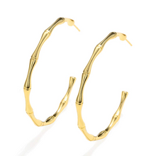 Load image into Gallery viewer, gold color bamboo hoop earrings
