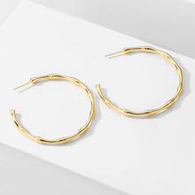 Load image into Gallery viewer, Gold Bamboo Hoops Earrings for Women