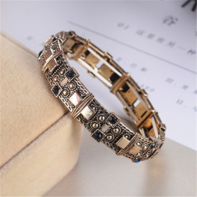 gold blue stone Adjustable Statement Bracelet Rhinestone Silver Gold for Women Toggle-clasps