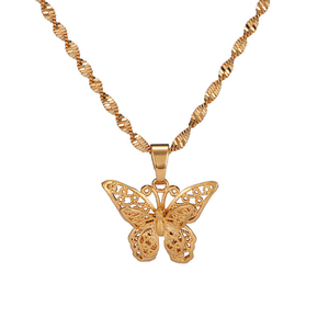 Gold Butterfly Pendant Necklace for Women Water Wave Chain 24K