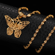 Load image into Gallery viewer, gold butterfly pendant