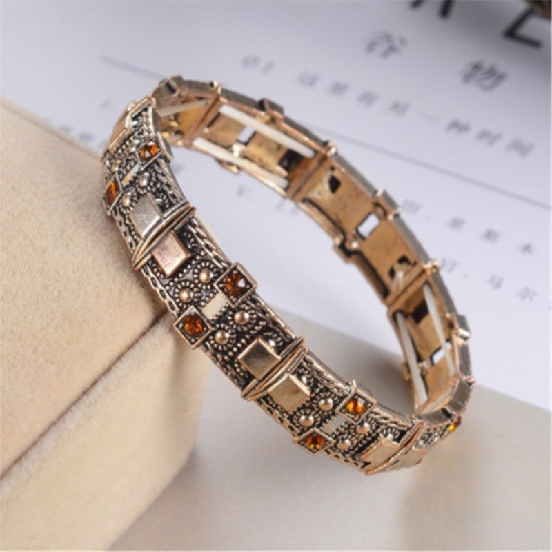 gold red stone gold blue stone Adjustable Statement Bracelet Rhinestone Silver Gold for Women Toggle-clasps