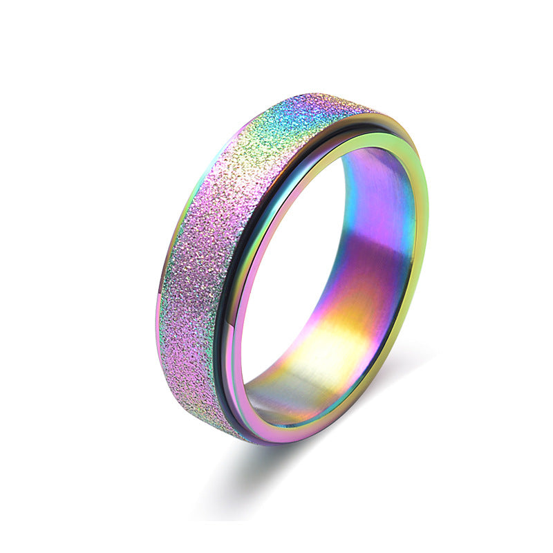 Spinner Ring Stainless Steel  Sand Blast Finish Colorful Gradient