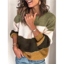 Load image into Gallery viewer, Women oversize striped loose sweater jummper color block