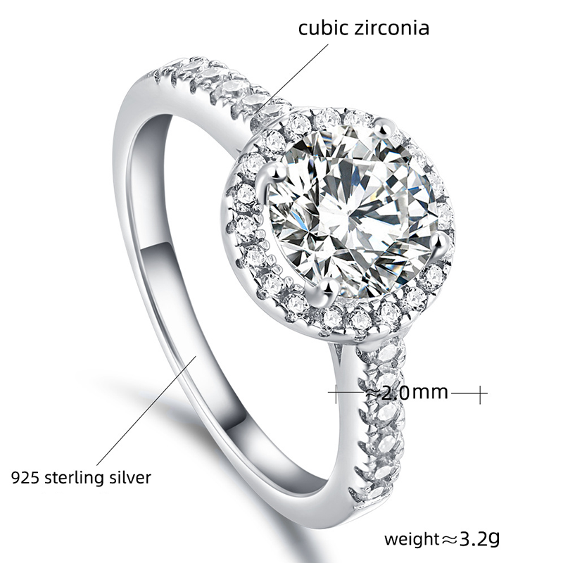 Round Cut Halo Ring Prong Setting Zirconia