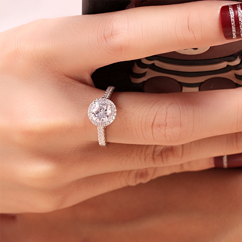 Round Cut Halo Ring Sterling Silver Zirconia