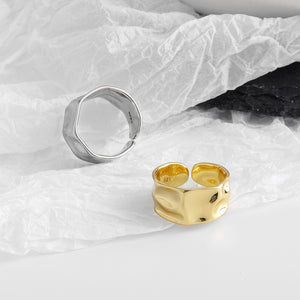 Hammered Rings Gold and Silver 2 Pcs