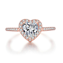 Load image into Gallery viewer, Heart Shaped Diamond Ring Rose Gold Pave Setting
