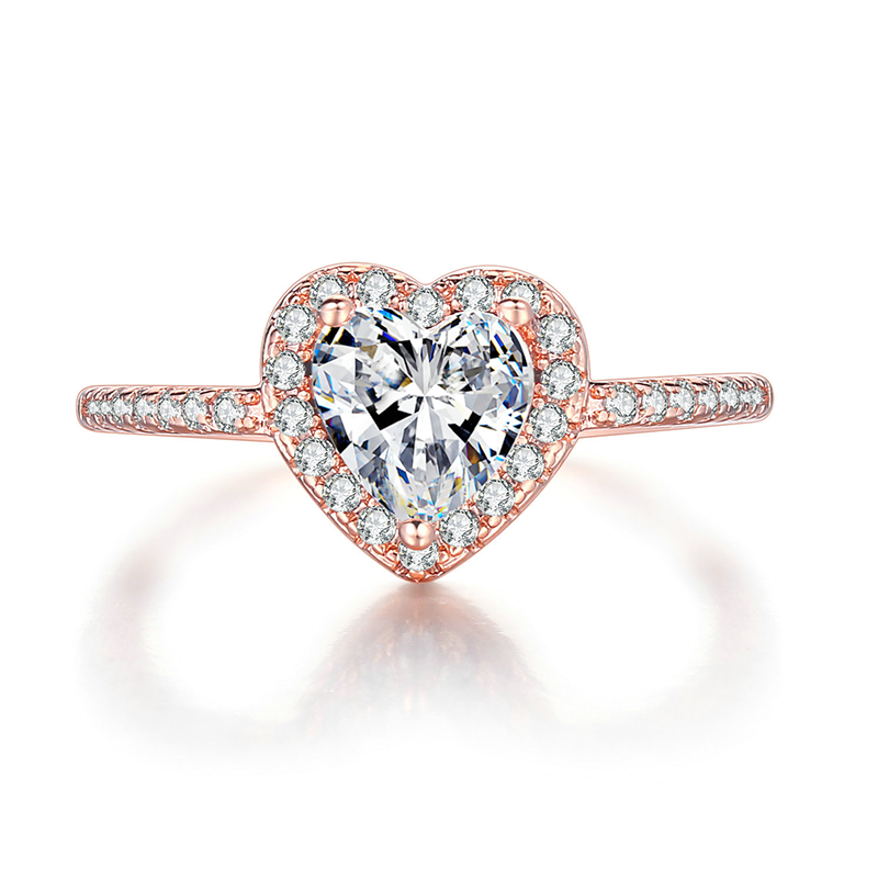 Heart Shaped Diamond Ring Rose Gold Pave Setting