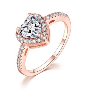 Heart Shaped Diamond Ring Pave Setting