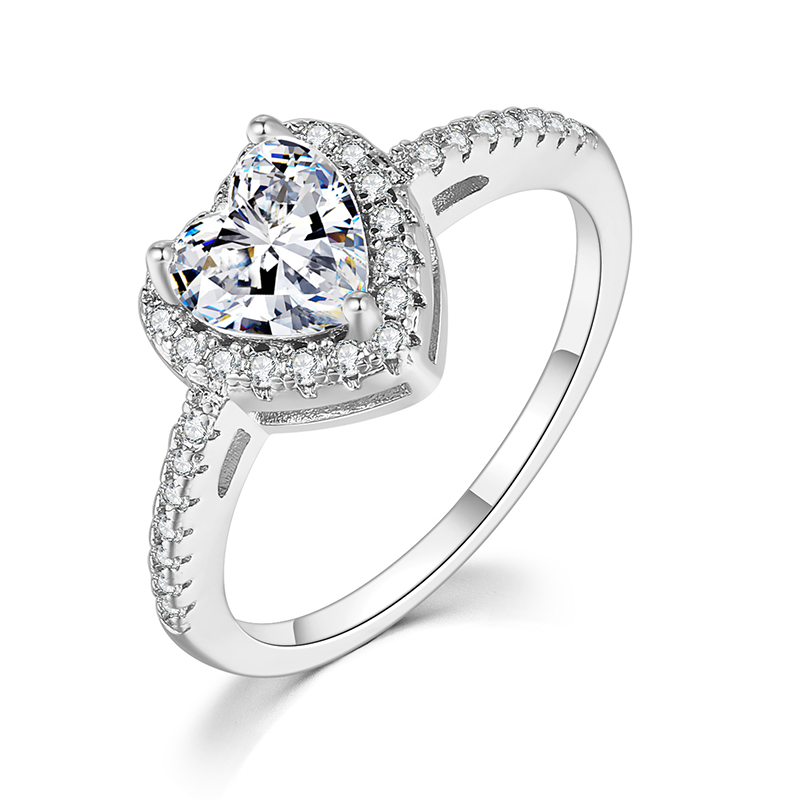 Heart Shaped Diamond Ring Silver Pave Setting