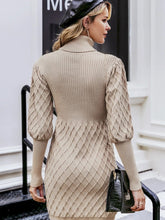 Load image into Gallery viewer, pullover sweater dress turtleneck lantern sleeve