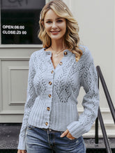 Load image into Gallery viewer, light blue knit sweater women hollow pattern crocheted open front floral pattern