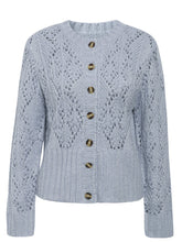 Load image into Gallery viewer, blue knit cardigan sweater hollow pattern crocheted open front