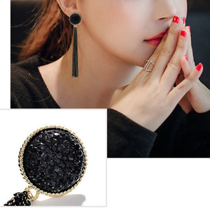 Long Tassels Earrings with Crystal 925 Silver Needle for Women