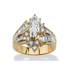 Load image into Gallery viewer, gold halo diamond ring marquise cut