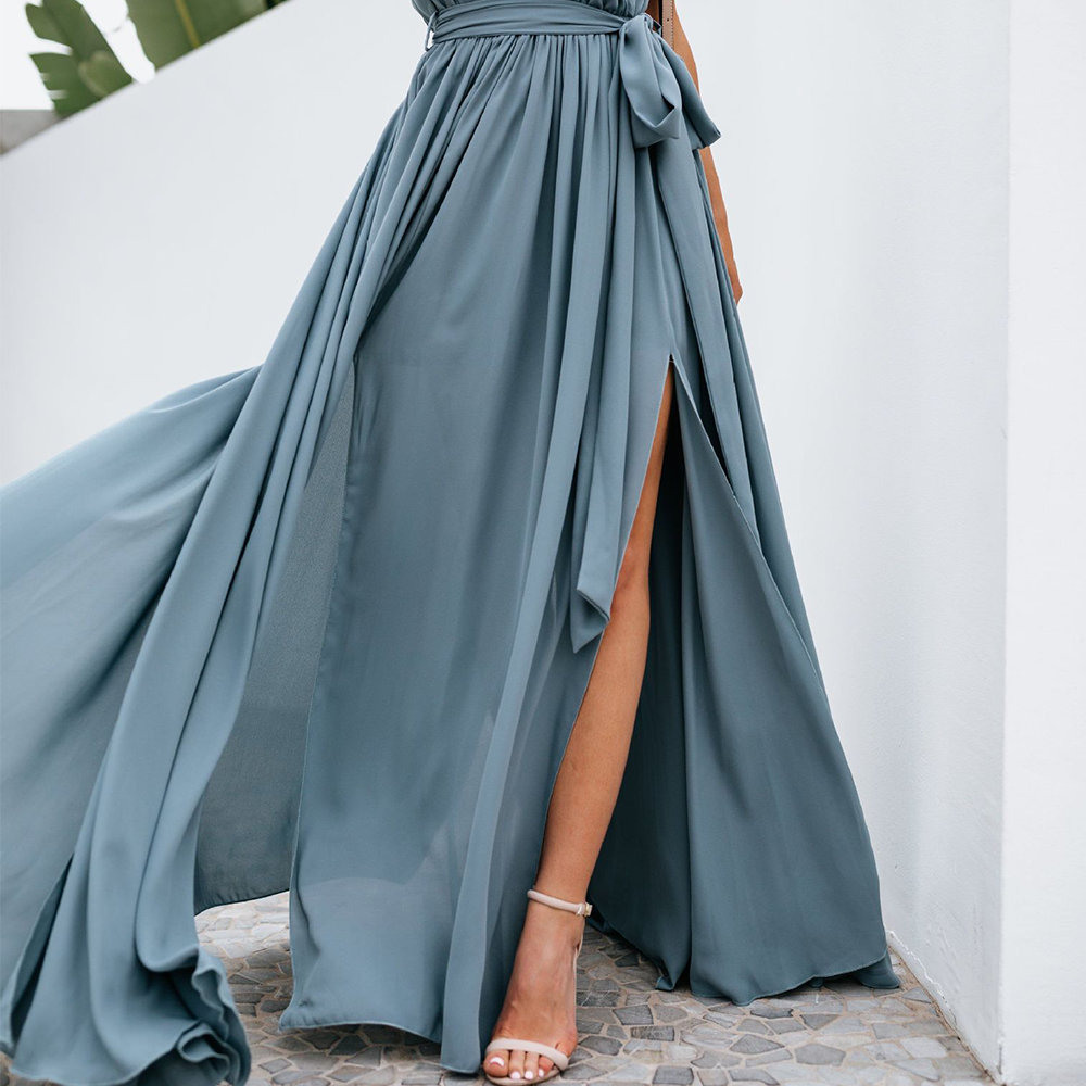 Women's Solid Color Deep V-Neck Maxi Dress