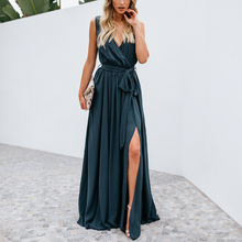 Load image into Gallery viewer, Women's Solid Color Deep V-Neck Maxi Dress