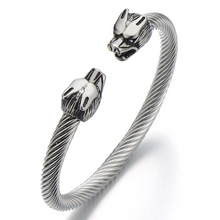 Load image into Gallery viewer, Mens Wolf Bracelet Stainless Steel Twisted Cable Bangle Cuff